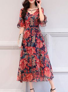 Shop Floral Print Flare Sleeve Chiffon Dress at EZPOPSY. Discover fashion online… Shop Floral Print Flare Sleeve Chiffon Dress at EZPOPSY. Stylish Dresses, Casual Dresses, Fashion Dresses, Summer Dresses, Maxi Dresses, Chiffon Maxi Dress, Party Dresses, Long Gown Dress, Dress Skirt