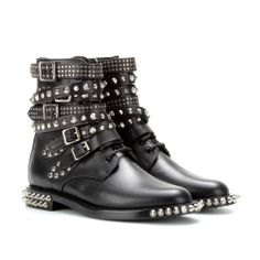 Rangers Studded Leather Ankle Boots ∫ Saint Laurent