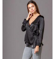 Σατέν Πουκάμισο Κρουαζέ με Δέσιμο στο πλάι  - Μαύρο Bell Sleeves, Bell Sleeve Top, Tops, Women, Fashion, Moda, Women's, Fashion Styles, Woman