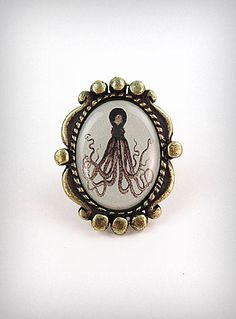 Antiqued Octopus Framed Ring