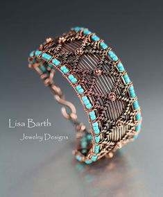 Hand woven bracelet with a design from my new book, Timeless Wire Weaving, The Complete Course. This is the Mirror Image bracelet with a variation of the snake weave for the edges. Wire Jewelry Designs, Jewelry Crafts, Jewelry Art, Beaded Jewelry, Handmade Jewelry, Jewlery, Wire Wrapped Bracelet, Woven Bracelets, Bangle Bracelet
