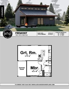 The Fremont, with it's sleek Modern style, is a perfect cabin for a family vacation. Small Modern Cabin, Small Cabin Plans, Modern Tiny House, Tiny House Design, Modern Cabins, Small Cabins, Modern Houses, Cottage Style House Plans, Cottage Floor Plans