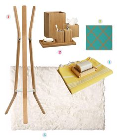 Try This... coat rack from CB2, Bamboo bath accesories from Crate and Barrel, wall paper from Temppaper, Turkish towels from BathStyle, sheepskin rug from Home Decorators