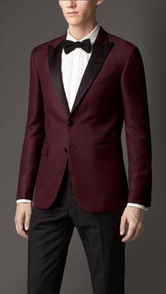 Burberry | Purple Modern Fit Satin Lapel Tuxedo Jacket for Men
