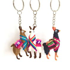 These adorable key rings are made from wire in the shape of a llama and wrapped in yarn. Indicate color preference at checkout or let us select colors you will