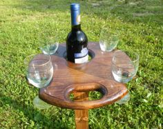 off for a limited time ! Outdoor Wine Table, Picnic Table, Wine Glass and Bottle Holder, Wine Table Table Picnic, Outdoor Picnic Tables, Wine Glass Holder, Bottle Holders, Wine Table, A Table, Wine Paring, Wooden Hinges, Barrel Projects