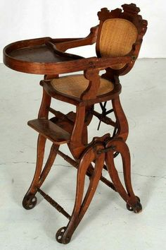 Antique Victorian Children S Oak High Chair Converts To