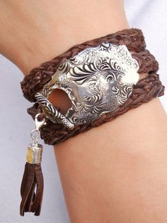 Hippie Jewelry Stacked Leather Wrap Bracelet Boho by HappyGoLicky