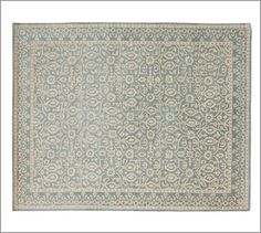 Another rug option for baby's nursery. Gorgeous and will grow with my little girl! Tile Rug - Porcelain Blue #potterybarn