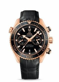 Omega Seamaster Planet Ocean Chrono 600M Red Gold Men's watch equipped with Swiss made Omega Co-Axial 9301 calibre automatic movement. The 45.50 mm red gold round case features a black dial. Functions
