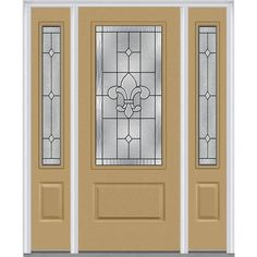 Milliken Millwork 64.5 in. x 81.75 in. Carrollton Decorative Glass 3/4 Lite Painted Fiberglass Smooth Exterior Door with Sidelites, Sandal