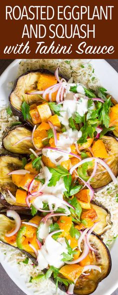 This Roasted Eggplant and Butternut Squash with Tahini-Yogurt Sauce is a fantastic vegetarian main course. Make it for the holidays or dinner parties. Roast everything on one sheet pan.