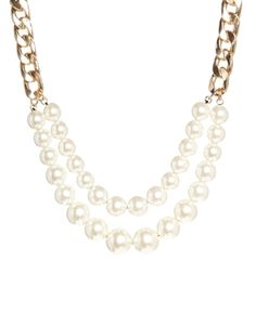 New Look Two Row Pearl Necklace