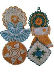 Vintage Blue/Yellow Pot Holders Crochet Pattern Pack  so cute maybe I should get back into crocheting