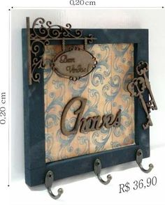 Quadros;porta Chaves;arabescos;trios;decorativo;retrato - R$ 36,90