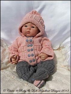 "Hooded Pram Suit (double breasted hooded sweater and leggings) 16-22"" doll/newborn/0-3m baby-knitting pattern, pram suit, baby, doll, reborn, babydoll handknit designs ...shared by Vivikene"