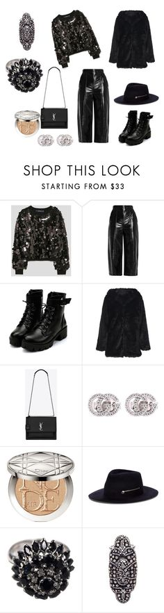 """""""total black"""" by elisavetpapa ❤ liked on Polyvore featuring MSGM, Yves Saint Laurent, Gucci, Christian Dior, Larose and Amrapali"""