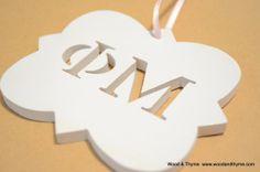 Phi Mu Quatrefoil Hand Cut Wood Christmas Ornament- made by a talented Phi Mu alumna and her Mane Man!
