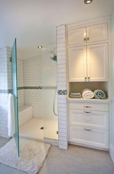 60 adorable master bathroom shower remodel ideas 28 Bathroom Storage Ideas to Getting Clutter Away Master Bathroom Shower, Bathroom Closet, Basement Bathroom, Bathroom Vanities, Budget Bathroom, Linen Cabinet In Bathroom, Built In Bathroom Storage, Master Closet, Master Bathroom Layout