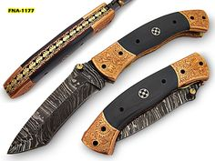 FNA-1177, Custom Handmade Damascus Steel 7.2 Inches Folding Knife - Gorgeous Hand Engraving on Gray Micarta and Browns Metal Handle    Beautiful File Work inside Handle    Durable and Long Lasting Knife     Over All Length = 7.2 Inches,     Blade Length = 3.1 Inches     Handle Length = 4.1 inches