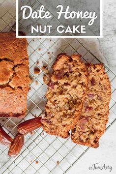 Date Honey Nut Cake - A moist, dairy-free cake bursting with flavor. Kosher and parve, perfect for Rosh Hashanah or Sukkot. | ToriAvey.com #datecake #RoshHashanah #highholidays #dates #honeycake #quickbreads #TorisKitchen Kosher Recipes, Baking Recipes, Cake Recipes, Dessert Recipes, Brunch Recipes, Loaf Cake, Bread Cake, Dessert Bread, Moist Date Cake Recipe