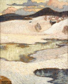 Norrländskt vinterlandskap by HelmerOsslund Landscape Art, Landscape Paintings, Oil Paintings, Scandinavian Paintings, North Europe, Snow Art, Art Oil, Nature, Artsy