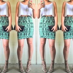 Final Price| Bcbg bodycon print skirt Gorgeous green print bodycon skirt by bcbgmaxazria. Perfect for club nights, date nights, girls nights, or parties! Size says XXS, I am a small and it was not easy getting into it lol. Probably best for a xs-xxs. Like new! BCBGMaxAzria Skirts Midi