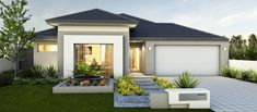View our Custom Two Storey Homes Designs, find Display Homes & more. Front House Landscaping, Modern Landscaping, Home Design, Yard Design, Modern Exterior, Exterior Design, House Color Palettes, Australia House, Storey Homes