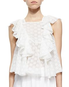 Mavis Ruffled Voile Trapeze Top by Rebecca Minkoff . Cute!