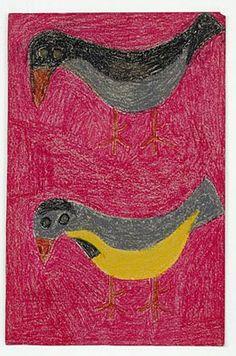 Eddie Arning (1898-1993): Visionary Artist, Untitled (Birds), Craypas on paper. Lived in McGregor, Texas, Circa: 1968