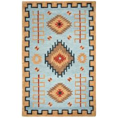 Inspired by Native American art work that dates back several generations, the Mesa collection is truly unique. This Rizzy Home Mesa Blue Multicolor 8 ft. x 11 ft. Area Rug is hand tufted in India using pure wool in a loop pile construction creat Rectangle Area, Light Blue Area Rug, Area Rug Sizes, Native American Art, Beige Area Rugs, Colorful Rugs, Nativity, Pure Products, Handmade