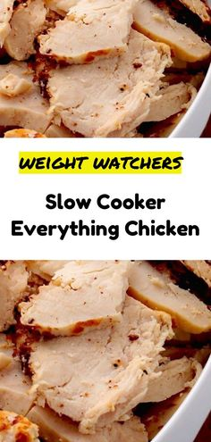 Slow Cooker Everything Chicken - Health For Perfect Life Skinny Recipes, Ww Recipes, Slow Cooker Recipes, Gourmet Recipes, Crockpot Recipes, Cooking Recipes, Healthy Recipes, Chicken Recipes, Cooking Ideas