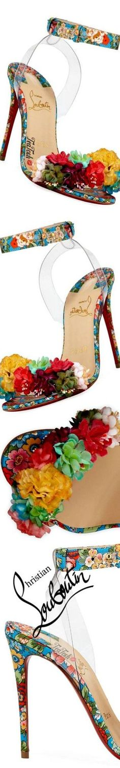 ❈Téa Tosh❈ Christian Louboutin, Arielta Floral Red Sole Sandals #ChristianLouboutin #teatosh