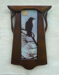 'Crow in Pines' quarter-sawn oak-framed art tile from Mission Guild Studio. Arts And Crafts For Adults, Arts And Crafts House, Home Crafts, Craftsman Frames, Craftsman Tile, Craftsman Style Bungalow, Craftsman Bungalows, Arts And Crafts Interiors, Arts And Crafts Furniture