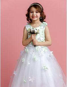 A-line/Princess Jewel Sweep/Brush Train Satin And Tulle Flower Girl Dress  Fiyat : $59.99