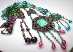 3 Art Deco Nouveau Czech Filigree Amethyst Peking Pink aqua glass bead necklace | eBay