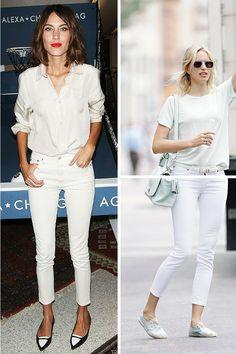 Que tal embarcar na tendência do all white? Além de ser super elegante, é muito prático na hora de escolher a roupa de manhã: calça skinny e camisa branca e pronto!