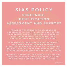 Are you familiar with the SIAS policy? 🤔 ✨If you're a school-based or paeds OT, it's important to make sure you're informed about child-related policies so that you can be the best advocate for your clients! ✨Would you like to see more posts like this? Let us know 👇  #occupationaltherapy #occupationaltherapist #schoolbasedot #schoolbased #pediot #pediatricoccupationaltherapy #occupationaltherapystudent #otforkids #ottips #otcorner #schoolpolicy Pediatric Occupational Therapy, Vulnerability, Assessment, Corner, Child, Student, Posts, Education, School