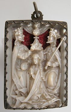 #Medieval #Pendant  15th Century  --  Rhineland, Germany  --  Mother-of-Pearl w/ modern silver & red velvet mount.  --  Metropolitan Museum of Art