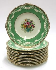 (lot of Mintons service plates, having a gilt rim around an apple green border adorned with raised floral swags s. on Dec 2011 Vintage Plates, Vintage China, Wedding China, Antique Dishes, Plates And Bowls, China Patterns, Jade Green, China Porcelain, Earthenware