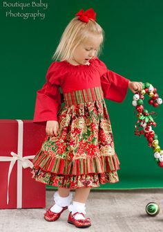 Toddler Christmas dress Custom made 12 by charlotteandclaire, $45.00