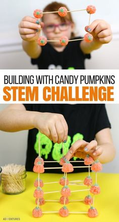 This simple Fall STEM experiment was so fun! The kids loved creating, designing, engineering, and building structures with candy pumpkins! Classroom Halloween Party, Halloween Science, Halloween Party Games, Halloween Crafts For Kids, Halloween Activities, Stem Activities, Halloween Fun, Fall Crafts, Pumpkin Stem