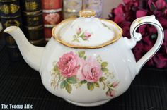 RARE Royal Albert American Beauty Teapot with Pattern on Spout, Full Sized,  ca. 1941-1998