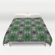 geometric pattern in green pink Duvet Cover by Christine baessler - $99.00