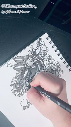 Doodle Art Designs, Doodle Patterns, Zentangle Patterns, Cool Art Drawings, Doodle Drawings, Easy Art Lessons, Coloring Pages Inspirational, Line Flower, Indian Art Paintings