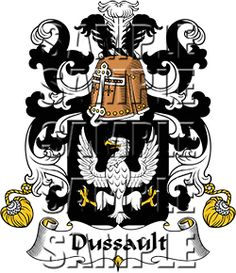Dussault Family Crest apparel, Dussault Coat of Arms gifts