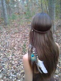 Huntress, Feather Headband, Bohemian headband, Native American, braided headband, Indian Headband, Peacock headband, hippie headband