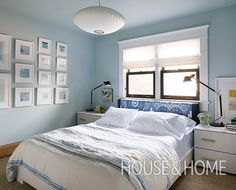 Soft blue walls give bedrooms a dreamy, soothing quality.   Photographer: Alex Lukey   Designer: Cameron MacNeil