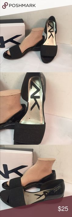 Anne Klein Kesha  Black Patent Wedge Shoes 8M Cute shoes, a few scuff marks on inside back of shoes.  Otherwise excellent condition. Anne Klein Shoes Wedges