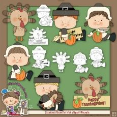 Happy Thanksgiving Kids Clip Art & Digital Stamps by Alice Smith